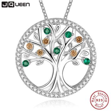 Tree Of Life 925 Sterling Silver Long Necklace for Women Vintage emerald morganite Multilayer Pendant Necklace Female Jewelry