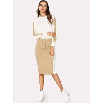 Multicolor Color Block Top And Drawstring Waist Skirt