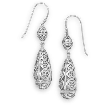 Rhodium Plated Cut Out Drop Earrings