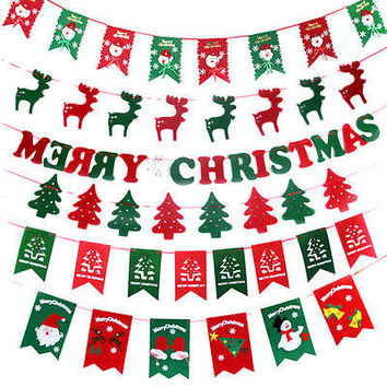 Merry Christmas Bunting Banner Garland Hanging Flags Party Xmas Tree Decor HU