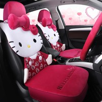 cartoon hello kitty car seat cover warm plush car cushion set in winter auto-covers accessories universal for all cars styling