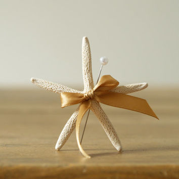 Beach Wedding Lapel Pin, Starfish Boutonniere, White and Gold Sea Themed Wedding, Nautical, sand, Destination Wedding