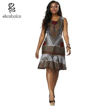 African women's fashion dress, retro flower positioning printing high quality