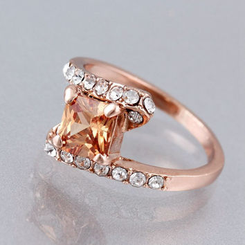 fashion personality design Plated rose gold Rings for Women crystal Zircon Rings Jewelry Engagement wedding gift
