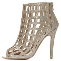 Qupid Caged Peep Toe Glitter Booties by Charlotte Russe - Champagne