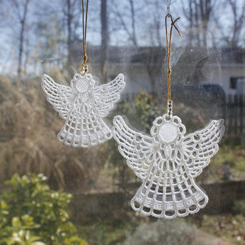 Angel - Guardian Angel Ornament or Suncatcher in 2 sizes- Custom Embroidery , Handmade in USA