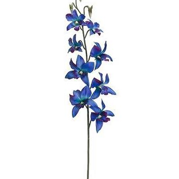 """Artificial Dendrobium Orchid in Peacock Blue & Purple - 30"""" Tall"""