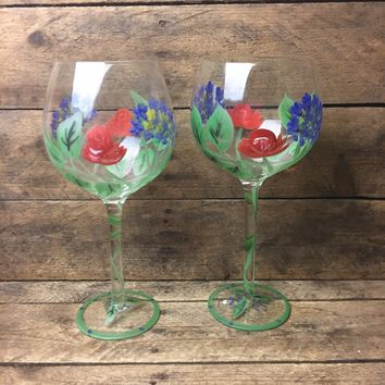 Set of Two Hand-Painted Flower Wine Glasses
