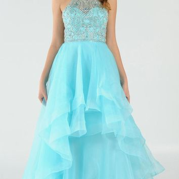 Light Blue Halter Beaded Bodice Tiered Long Prom Dress