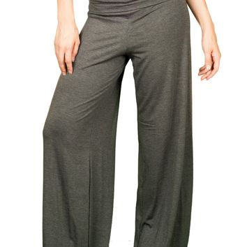 TL Women's Made in USA Comfy Wide Leg Long Boho Maternity Palazzo Gaucho Pants CHARCOAL, Large