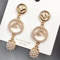 Fendi New fashion letter more pearl long earring women