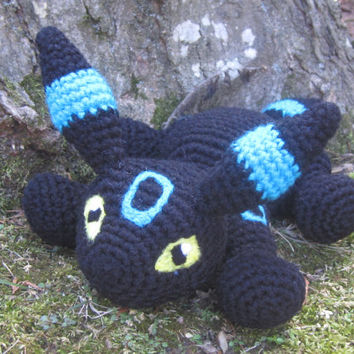 Pokemon Inspired: Shiny Umbreon Amigurumi (Crochet Plushie/Plush Toy) Choose from normal or Shiny! - MADE TO ORDER