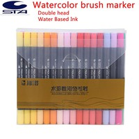 STA 12/24/36/48/80 Colors Water Based Ink Marker Pen Design Paint Sketch Manga Markers for Art Supplies School Supplies Graffiti