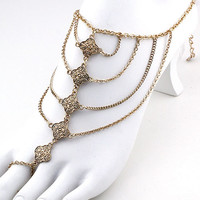 Lotus Draped Foot Chain (1 Chain) - Gold