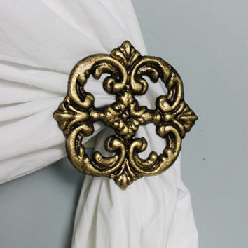 Curtain Tie back, Set of 2, Curtain Holdback, Curtain Hook Holder, Antiqued Gold, Home Accents