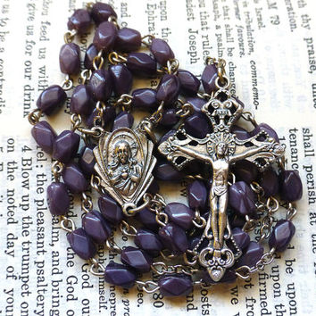 Sacred Heart Rosary - Scapular, Sorrowful Mother, Faceted Vintage Purple Glass Beads