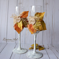 Personalized Rustic Fall Holiday Wedding Champagne Flutes Wedding Toasting Flutes Fall Wedding Glasses Thanksgiving wedding