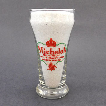 1950s Vintage Michelob Beer Glass / 8oz Pilsner Glass / King of Draught Beer / Anheuser-Busch Brewery / Holiday Beer Glass / Libbey Glass