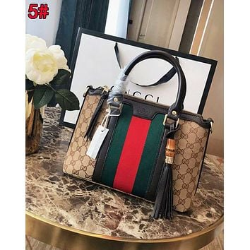 Gucci Fashionable Women Leather Tassel StripeHandbag Tote Shoulder Bag Satchel 5#