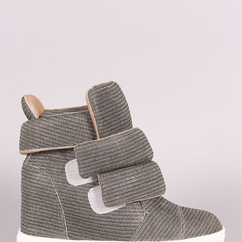 Shimmer Double Straps High Top Wedge Sneaker