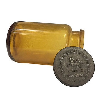1900s Medical Bottle, Amber Colored Glass with Tin Embossed Lid, Kepler Malt Products, Horse Design