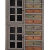 Exceptional Wood / Glass Cabinet with Drawer