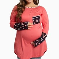 Pink Tribal Print Accent Plus Size Maternity Top