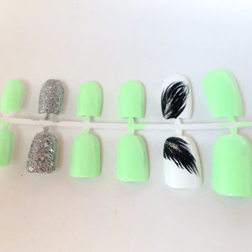 Mint Fake Nail Set - Glitter False Nails - Tribal Acrylic Nails - White Artificial Nails - Press On Nails - Glue On Nails - Gifts For Her