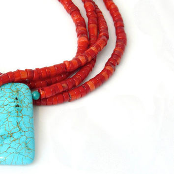 SURF. red coral heishi four strand necklace with tuquoise pendant and sterling silver