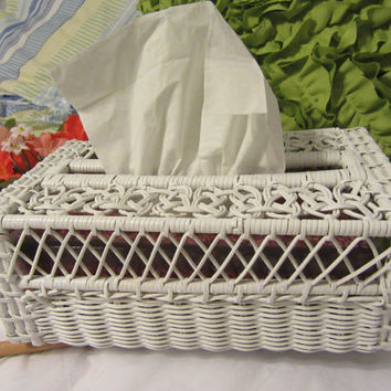 Vintage White Wicker Long and Narrow Tissue Box Holder - Country or Cottage Chic Decor - Unique Gift Idea