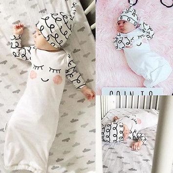 Take Home Outfit Baby Boys Girls Rompers Long Sleeve Cotton Eyes Rosy Cheeks Baby Gown Hat Infant Gift Set
