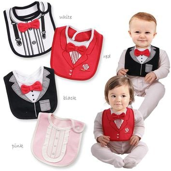 New Fashion 3 Layers Waterproof Baby Boy Tuxedo Bibs Newborn Dinner Feeding Bib Saliva Towel Baby Red Bow tie Gentleman baberos