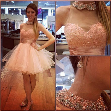 Pink High-Neck Tulle Homecoming Dress 2016 Lace With Crystals