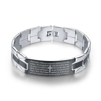 Stainless Steel Lord's Prayer Bracelet