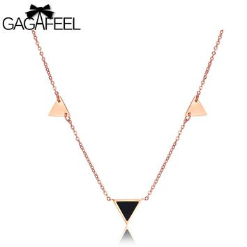 GAGAFEEL Clavicle Chain Necklace Pendant For Women Lady Black Rose Gold Color Stainless Steel Triangle Jewelry New Year Gifts