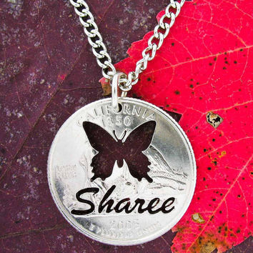 Personalized Butterfly with Name Handmade Necklace