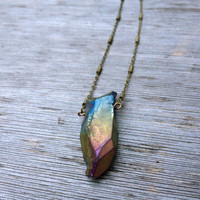 Aura Quartz Crystal Point Necklace (Short crystal)