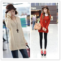New Fashion Autumn Knitted Solid Color Oversized Batwing Sleeve Cardigan Women Sweater Loose Casual Shirt = 1946251268