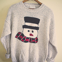90's Cute Ugly Christmas Sweater Knitted  Snowman Tacky Tunic Women's Large Zip Front  Knit Shoulder Pads