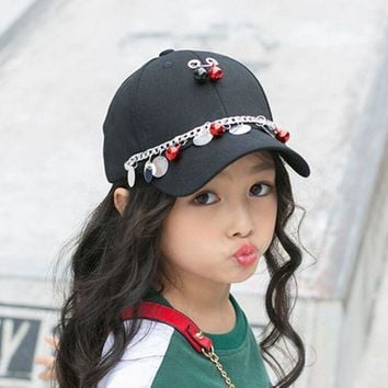 Trendy Winter Jacket Child Baseball Cap With Bells Sequin Kids Snapback Hat Adjustable Baby Boys Girl Kids Hip Hop Caps Owl Rivet Rope Ribbon Studs AT_92_12