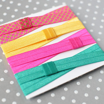 Sari Pink elastic headband set, Girls sports headbands, Yoga headband, Fashion headbands, Jewel tone headbands, Gold, emerald, pink headband
