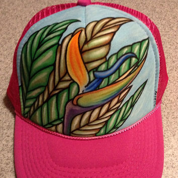 Bird of paradise handpainted pink trucker hat , surf art, surfing hawaii