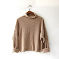 vintage cropped sweater. light brown boxy sweater. Textured ribbed pullover. Slouchy knit shirt.