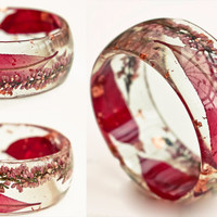 Chunky Resin Bangle. Pink. Red. Pastel Pink. Red Leaves. Botanical Jewelry. Nature. Summer. XL. Heather. Romantic.