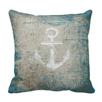Nautical Anchor Distressed Grunge Throw Pillow
