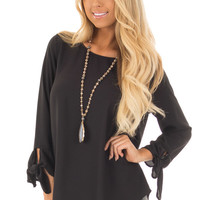 Black Tied Sleeve Blouse with Rounded Neckline