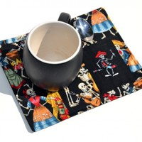 Day of the Dead, Dancing Skeletons Mug Rug with Embroidered Spoon Pocket