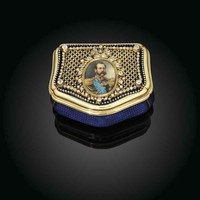 A RARE JEWELLED GOLD AND GUILLOCHÉ ENAMEL IMPERIAL PRESENTATION SNUFF-BOX, RETAILED BY BOLIN, ST PETERSBURG, CIRCA 1870S, SCRATCHED INVENTORY NUMBER 26974; THE BOX WITH THE MAKER'S MARK OF GABRIEL-RAOUL MOREL (FL. 1797-1832), PARIS, CIRCA 1830, WITH THE PA