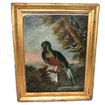 Antique Folk Art Oil Painting Colorful Bird Gilt Frame