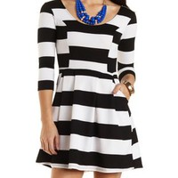 Striped Skater Dress with Pockets by Charlotte Russe